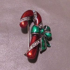 Vintage candycane with green bow brooch